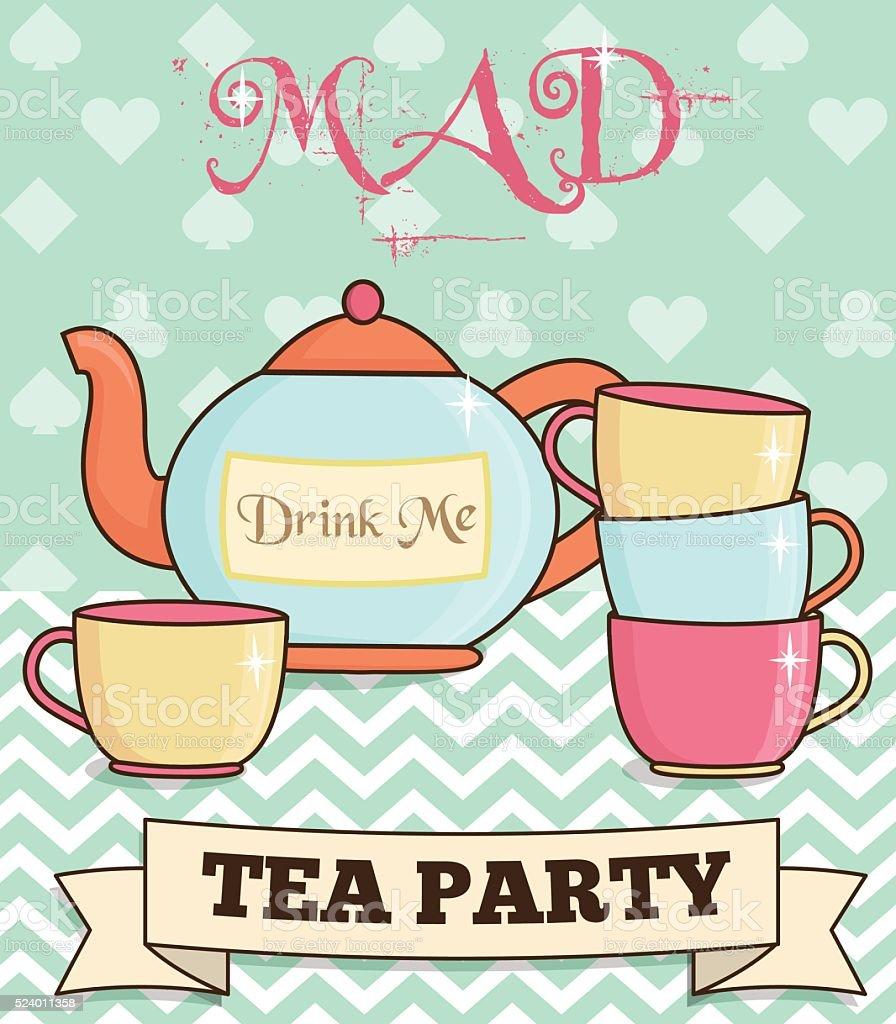 Cute wonderland mad tea party illustration vector art illustration