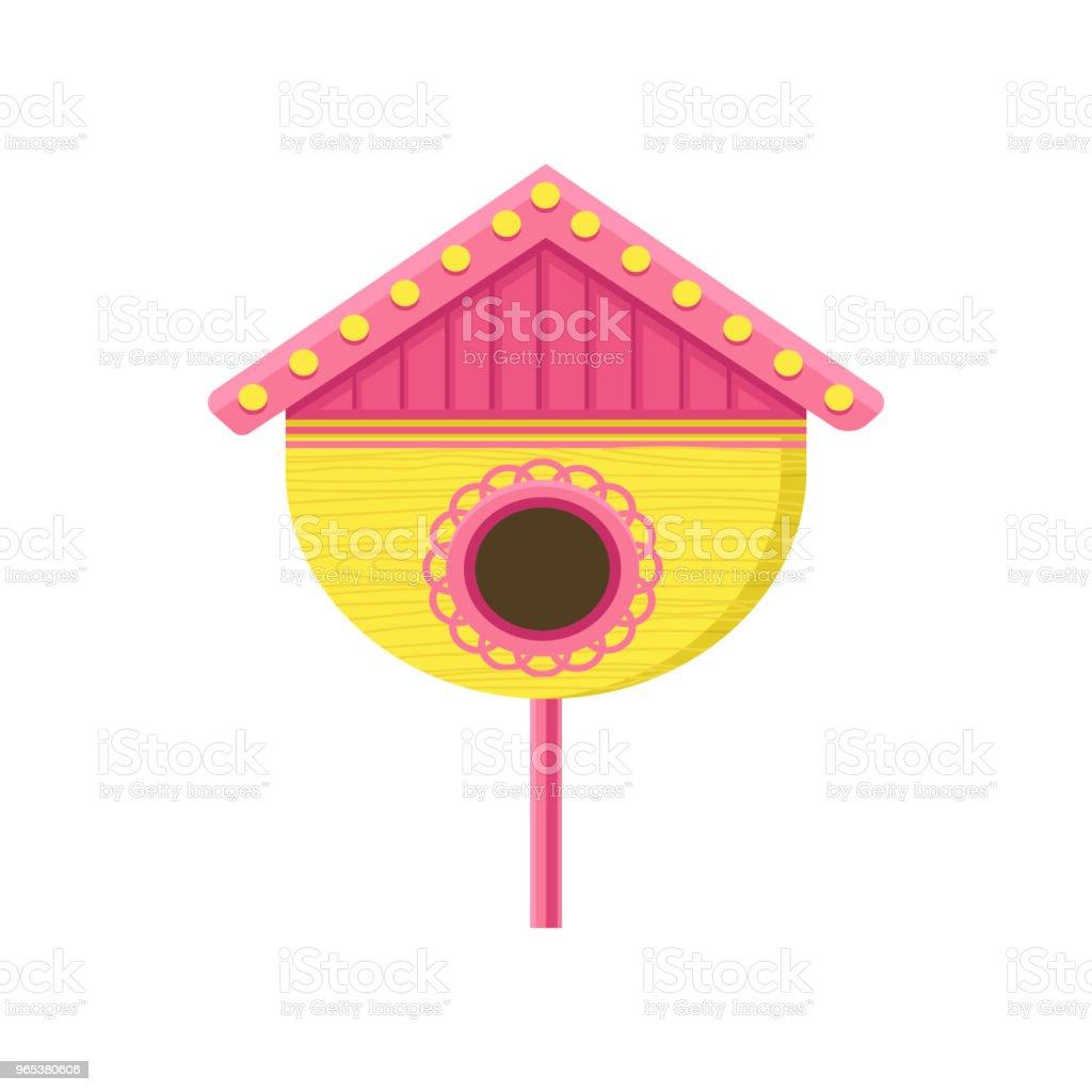Cute wooden birdhouse on stand. Yellow nesting box with pink roof. Small house for birds. Flat vector element for postcard cute wooden birdhouse on stand yellow nesting box with pink roof small house for birds flat vector element for postcard - stockowe grafiki wektorowe i więcej obrazów bez ludzi royalty-free