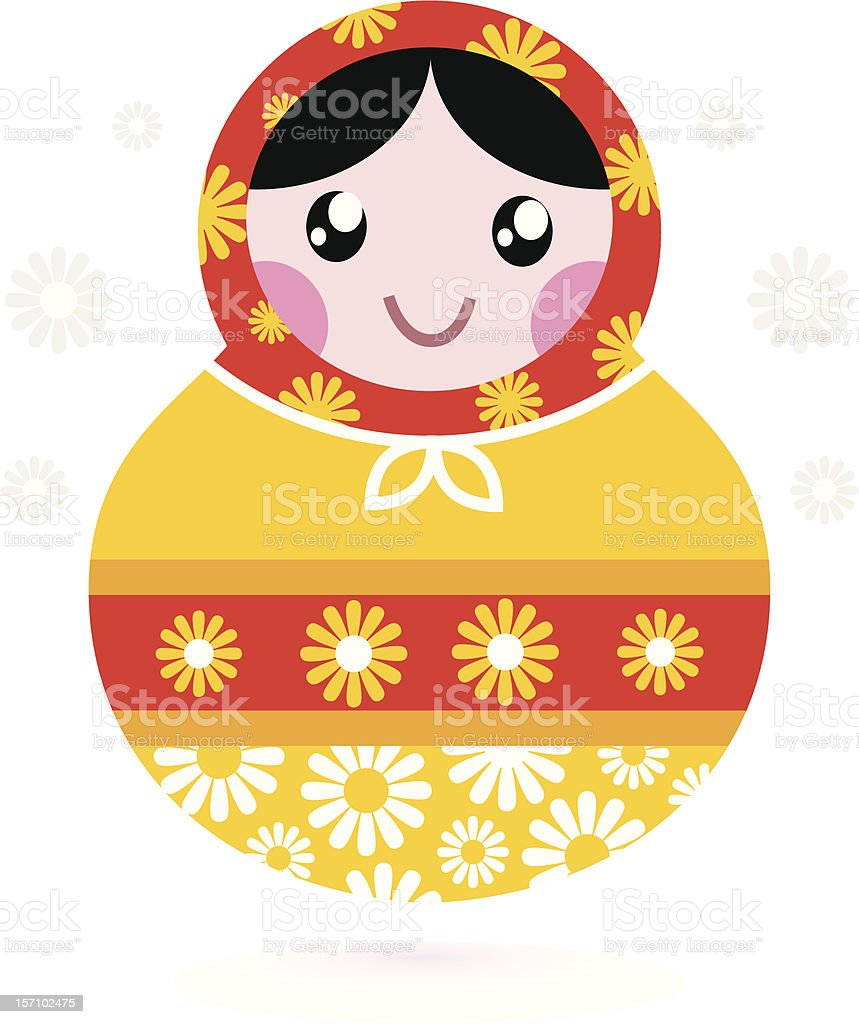 Cute wooden Russian doll - Matrioshka ( yellow and red ) royalty-free stock vector art