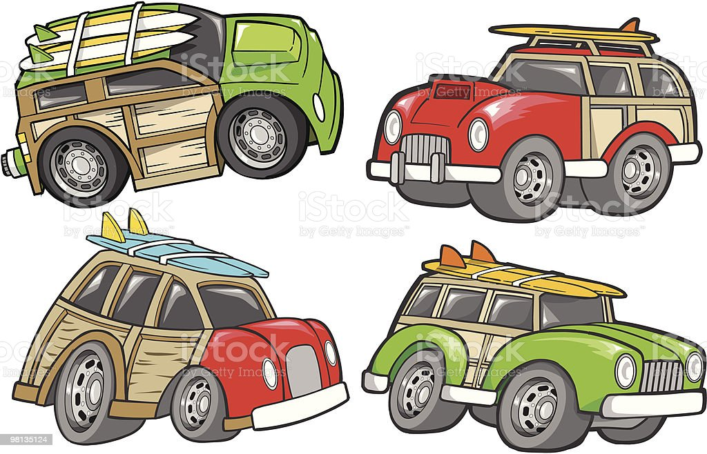 Cute Woodie Cars royalty-free cute woodie cars stock vector art & more images of car