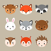 Cute woodland animals collection. Vector animals heads isolated on white background.