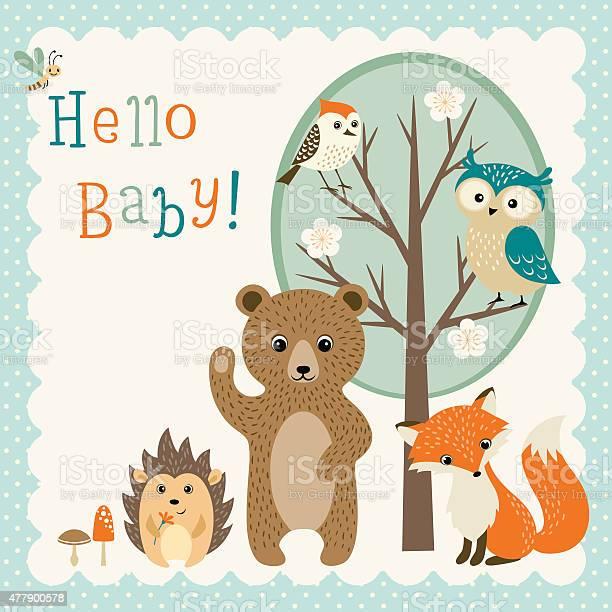 Cute woodland friends baby shower vector id477900578?b=1&k=6&m=477900578&s=612x612&h=ud imp72tlox30mym9yr8wzpyl lydz8oru66meb8si=