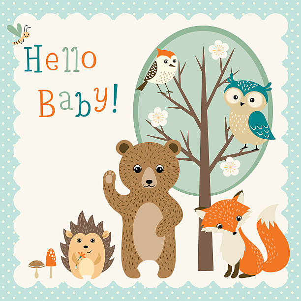 cute woodland friends baby shower - baby animals stock illustrations