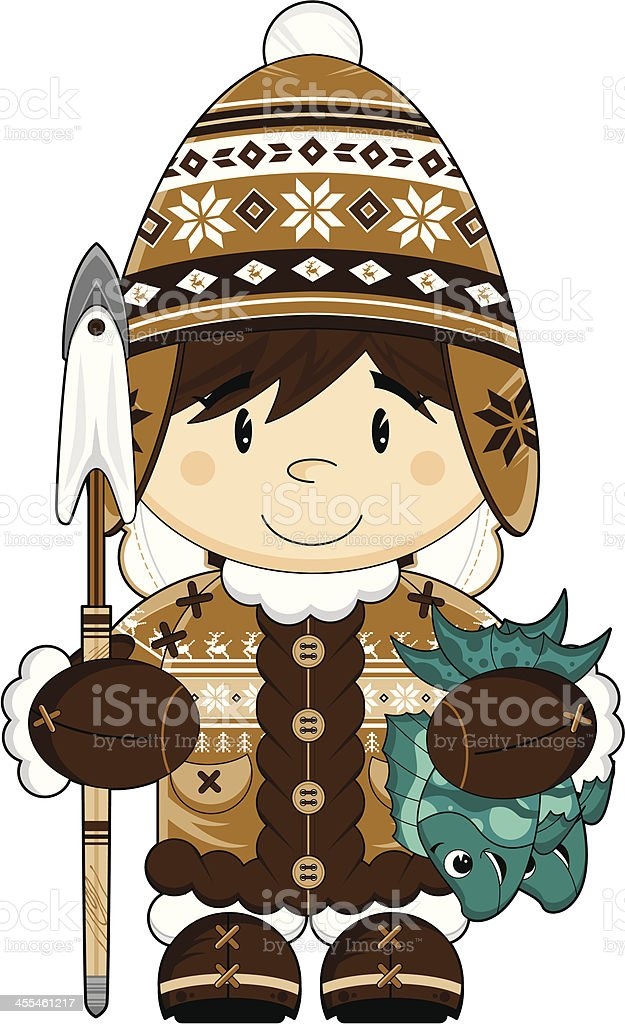 Cute Wooly Hat Inuit Fisherman royalty-free cute wooly hat inuit fisherman stock vector art & more images of animal