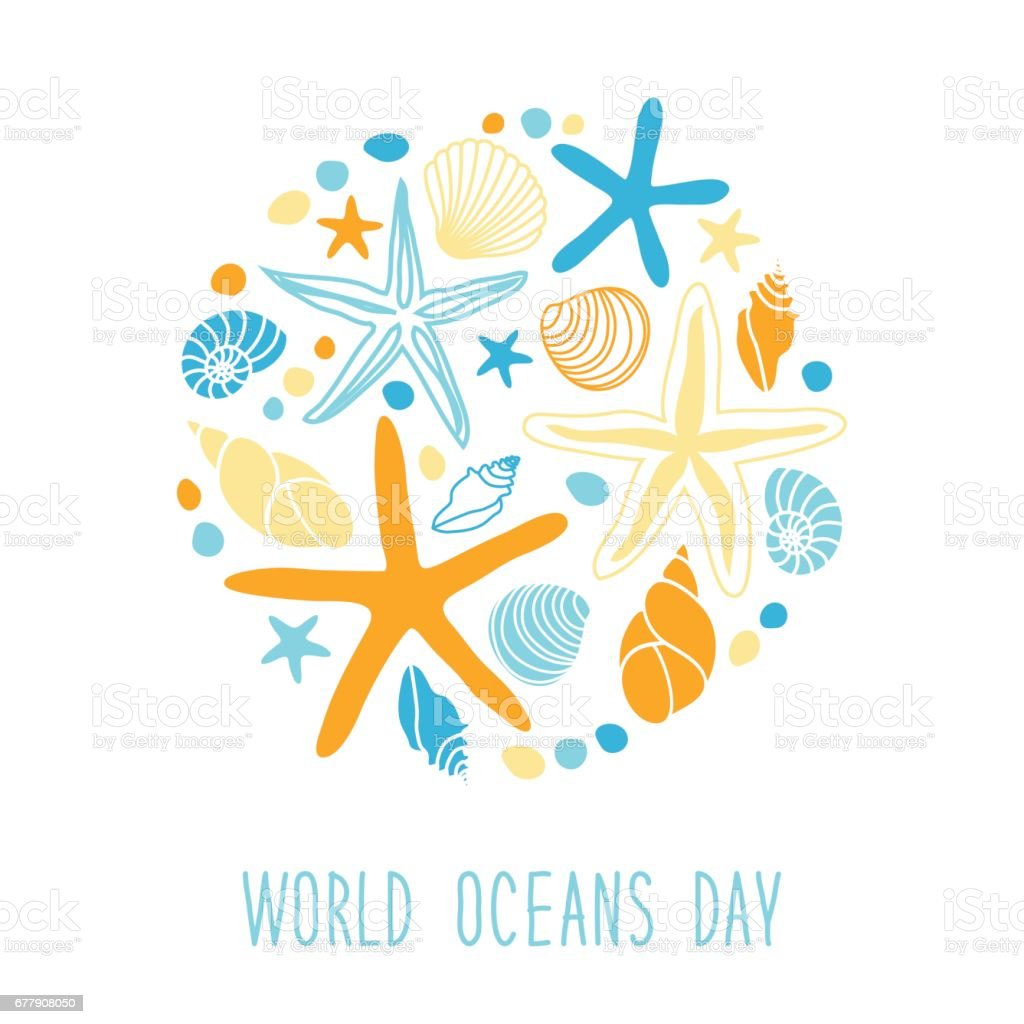 Cute World Oceans Day background with hand drawn shells and starfishes and hand written text royalty-free cute world oceans day background with hand drawn shells and starfishes and hand written text stock vector art & more images of animal shell