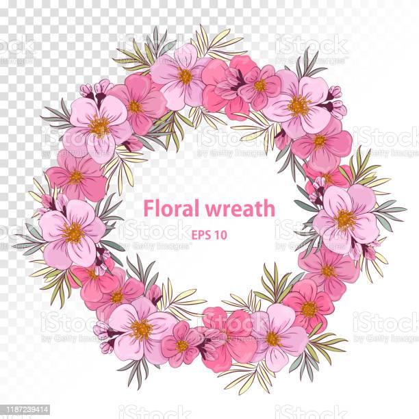 ピンクの花のかわいい花輪挨拶やビュイネスカード結婚式の招待状 ...