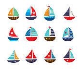 cute yatch vector collection