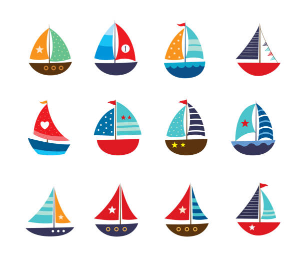 cute yatch vector collection cute yatch vector collection sailboat stock illustrations