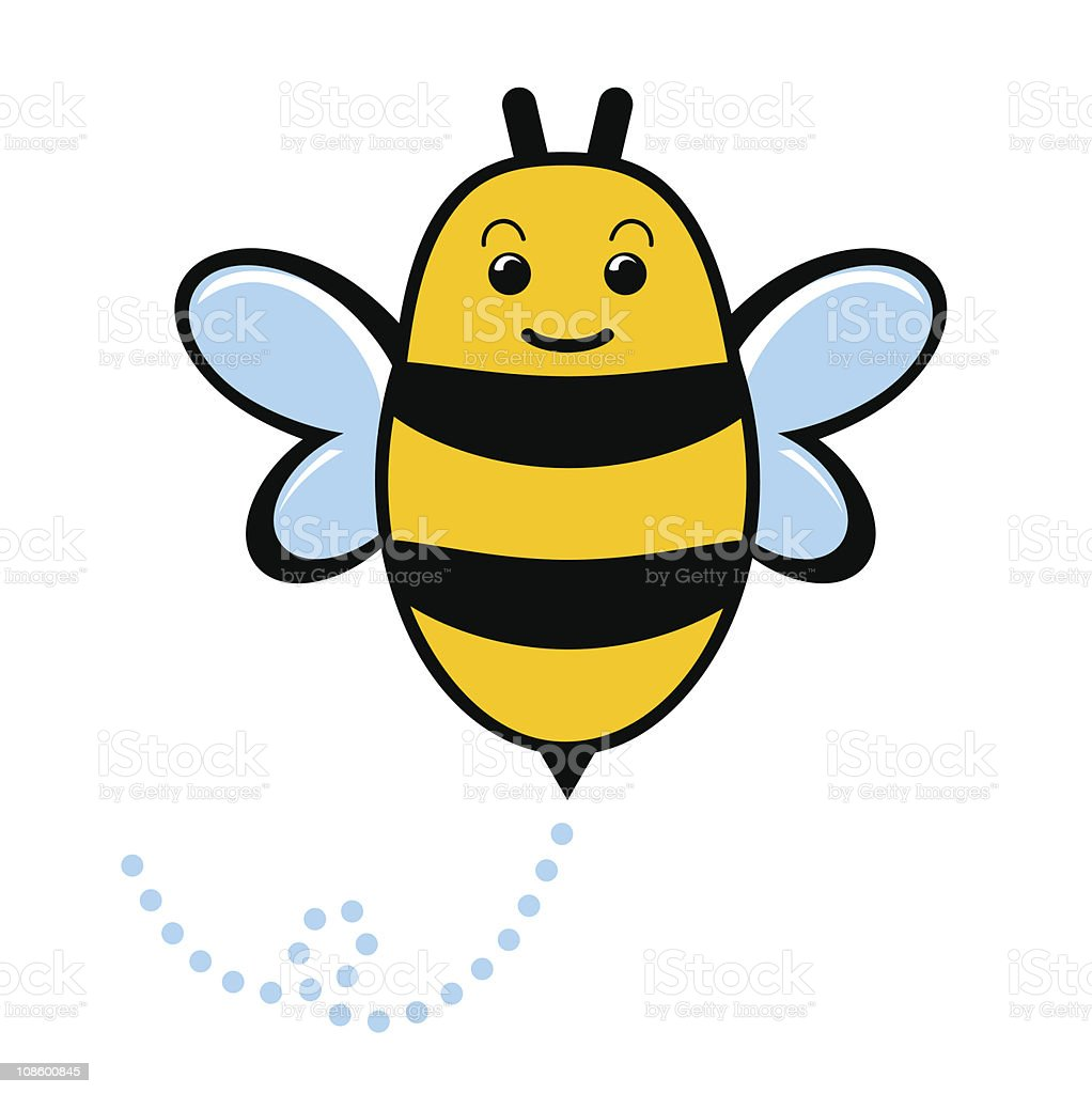 Cute yellow and black cartoon bee vector art illustration