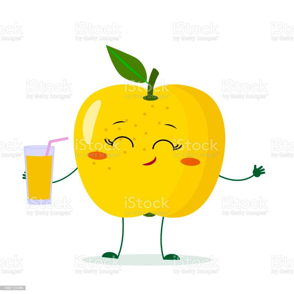 gelbes kuchendesign logos, niedliche gelber apfelcartoonfigur hält ein glas mit saft stock, Design ideen