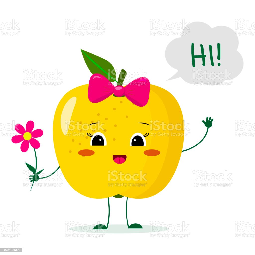 Cute Yellow Apple Cartoon Character With A Pink Bow Holding A Flower