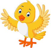 Cute yellow bird cartoon