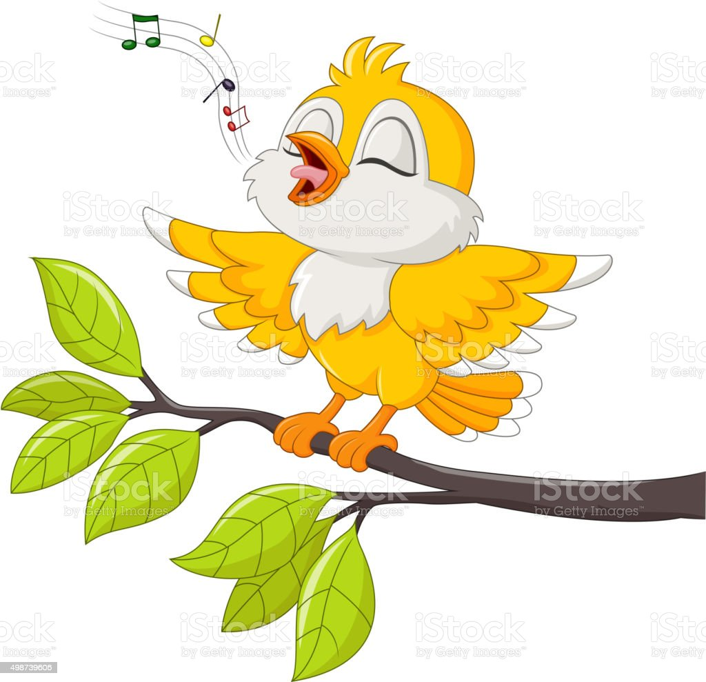 Cute yellow bird singing isolated on white background vector art illustration