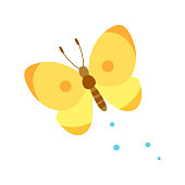 istock Cute yellow butterfly isolated on white background 1215028385