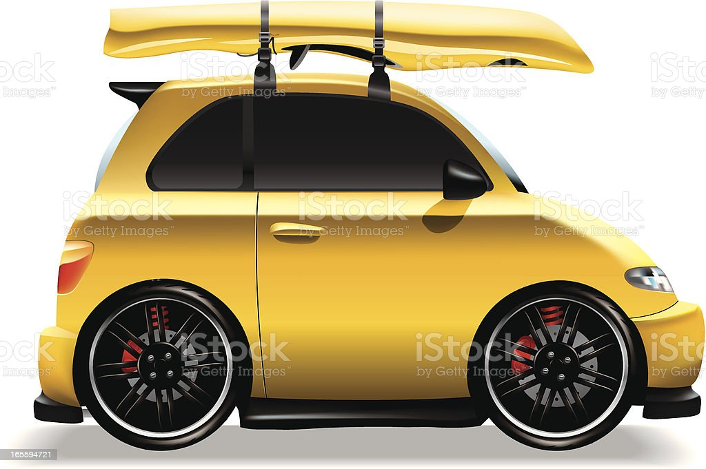 Cute yellow car with kayak royalty-free stock vector art