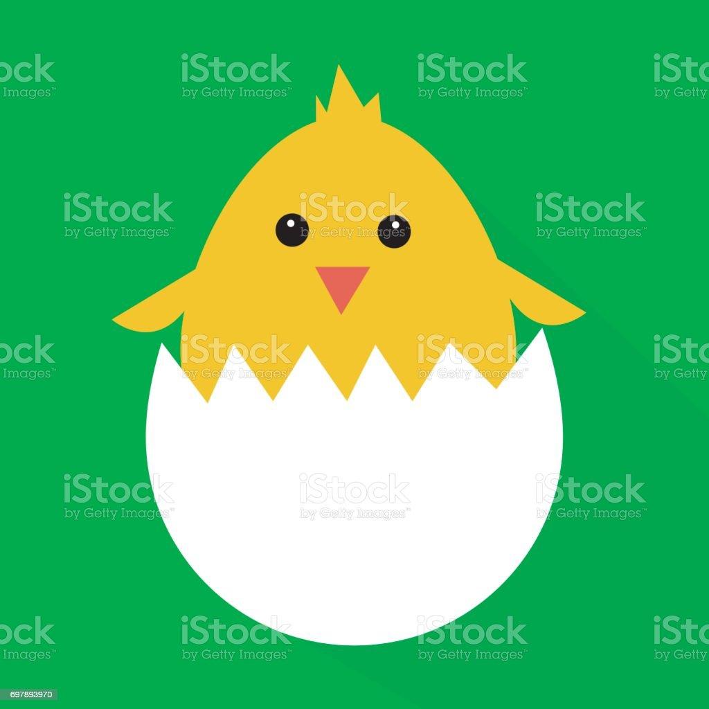 Cute yellow cartoon baby chicken vector art illustration