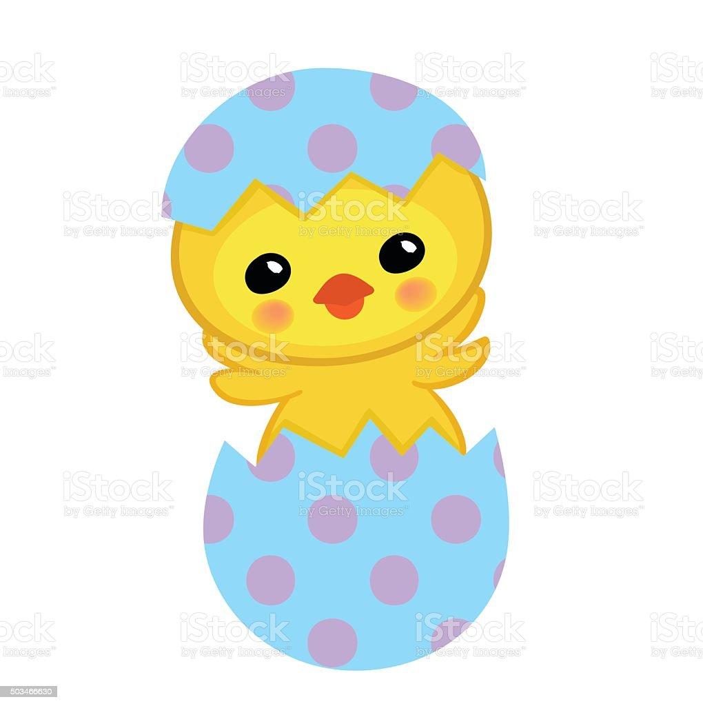 Süße Gelbe Chick Hatched Aus Einem Ei Frohe Ostern Stock Vektor Art