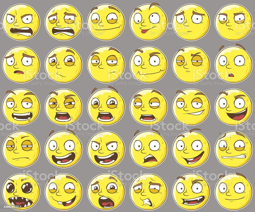Cute yellow different faces set vector art illustration