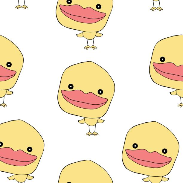 cute yellow duck hand drawn  semaless pattern  design for art and   print  vector eps.10 vector art illustration