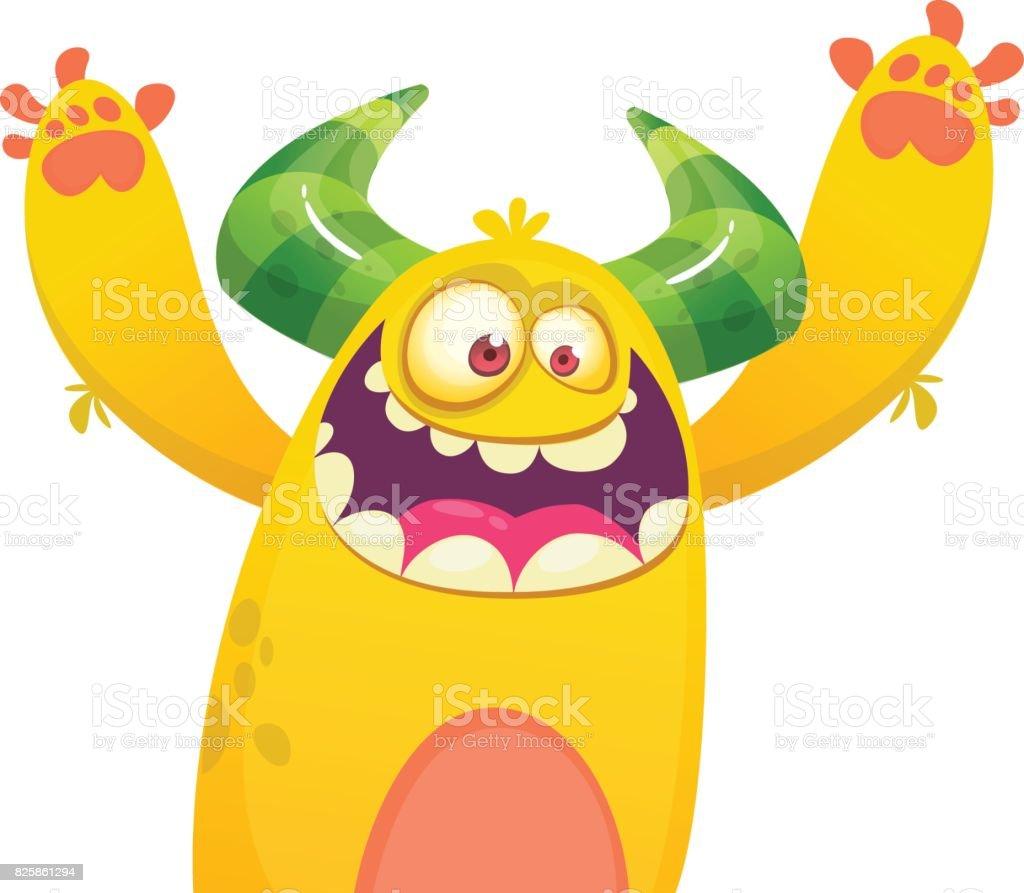 Cute yellow fat cartoon monster . Vector illustration funny troll or goblin. Halloween design