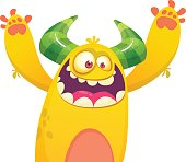 Cute yellow fat cartoon monster . Vector illustration funny troll or goblin. Halloween design