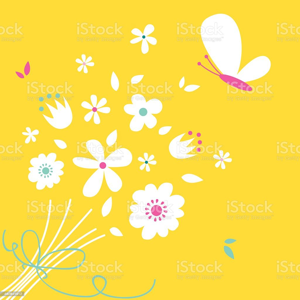 Cute Yellow Flowers And Butterflyillustration Stock Vector Art