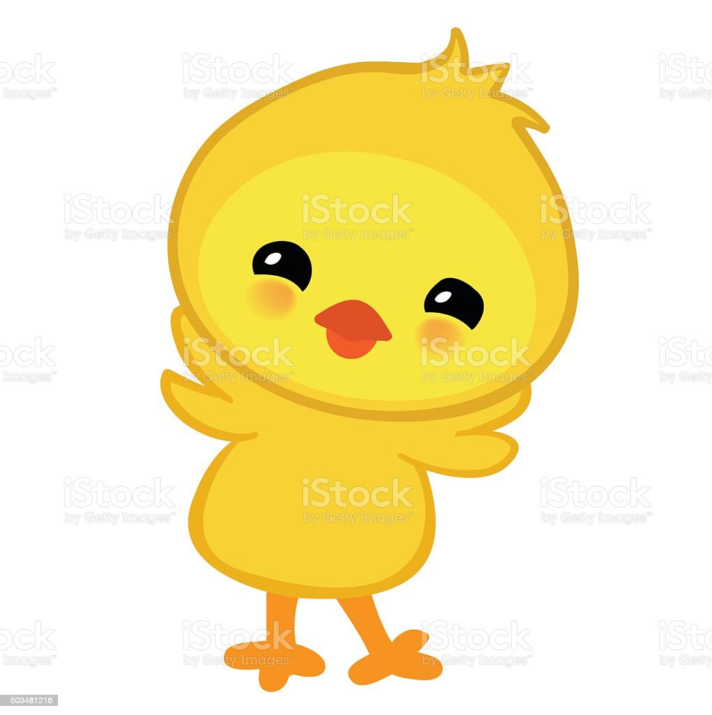 Cute yellow happy Easter chicken.  illustration isolated on white background. vector art illustration
