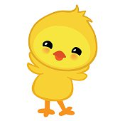 Cute yellow happy Easter chicken.  illustration isolated on white background.
