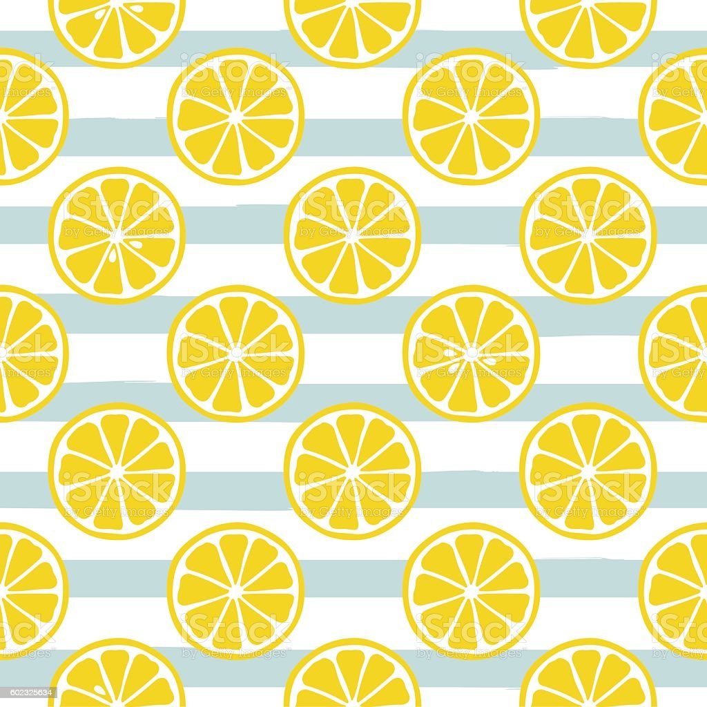 cute yellow lemon slices on striped blue background stock
