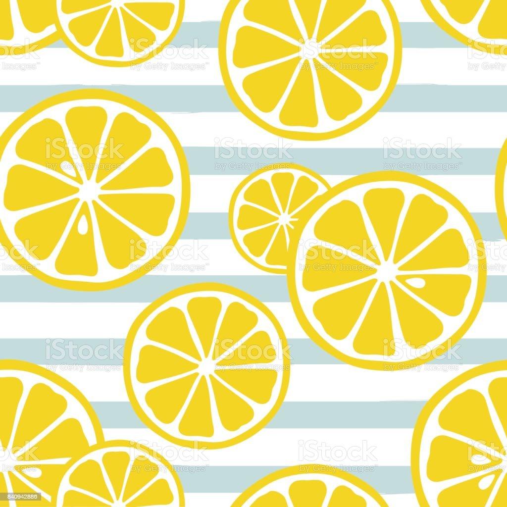 青ストライプの背景にかわいい黄色いレモン スライス かんきつ類の