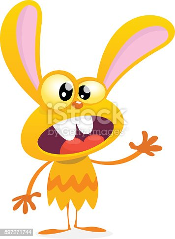 Cute Yellow Monster Rabbit Halloween Vector Bunny Monster Stock Vector Art & More Images of Animal 597271744