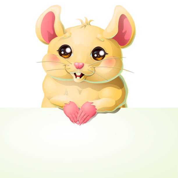 Bекторная иллюстрация Cute yellow mouse and banner on white