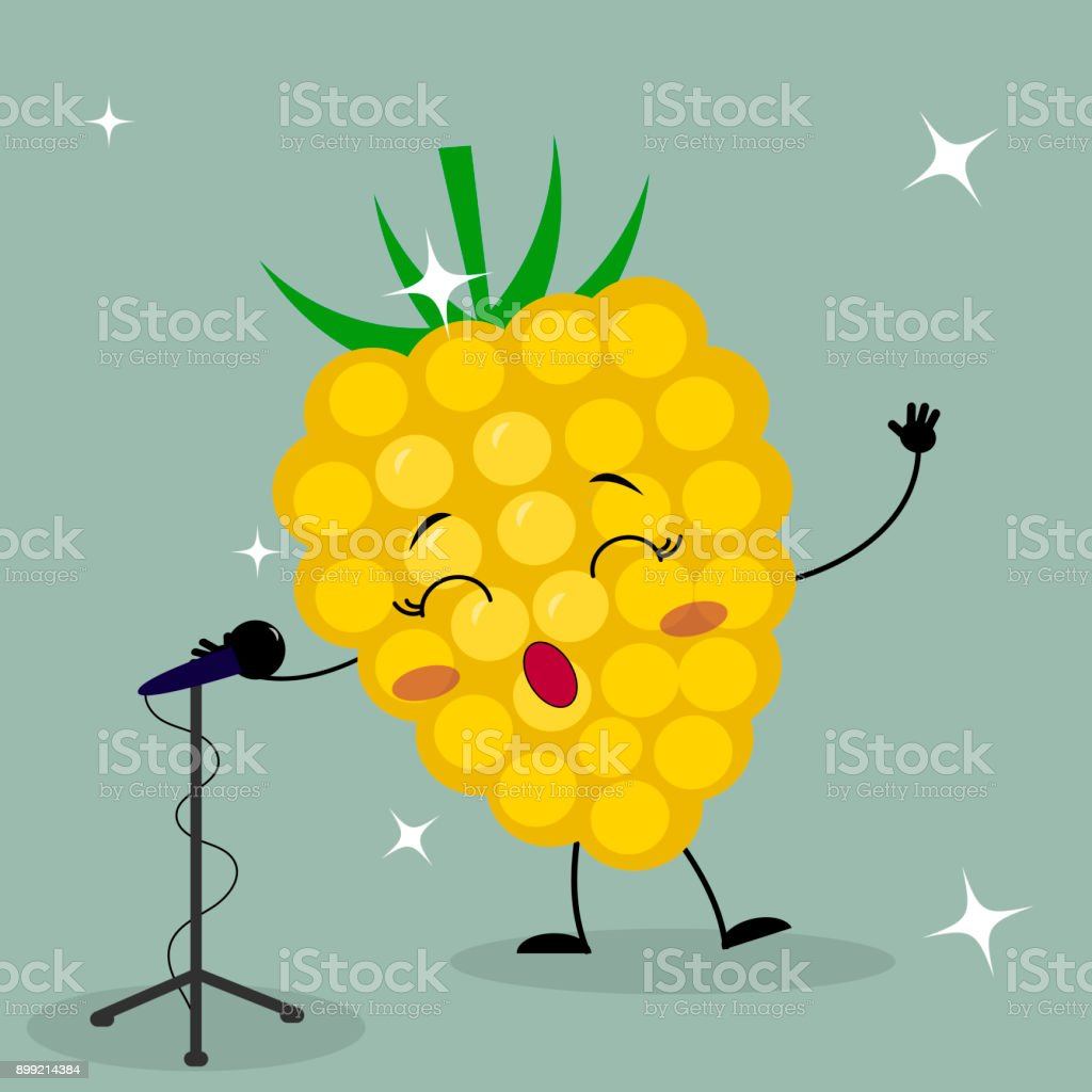 漫画スタイルのかわいい黄色いラズベリー スマイリー マークはマイクに