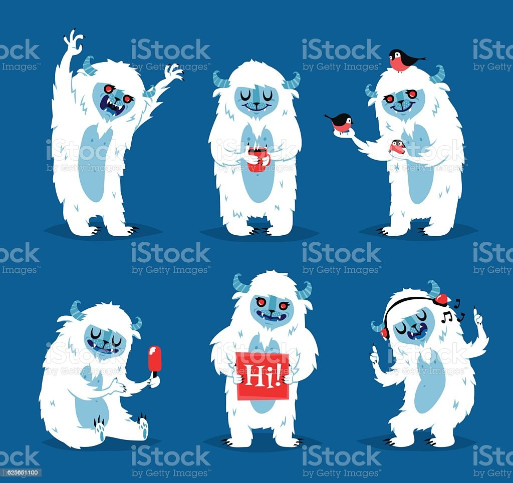 Cute yeti biigfoot monsters vector set. - Illustration vectorielle