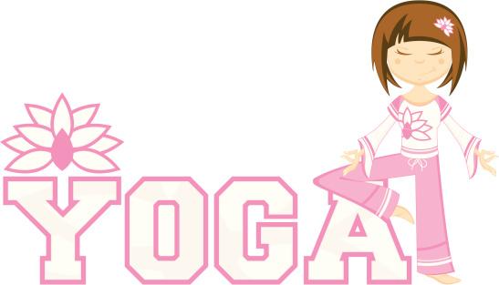 Cute Yoga Girl Learning Illustration