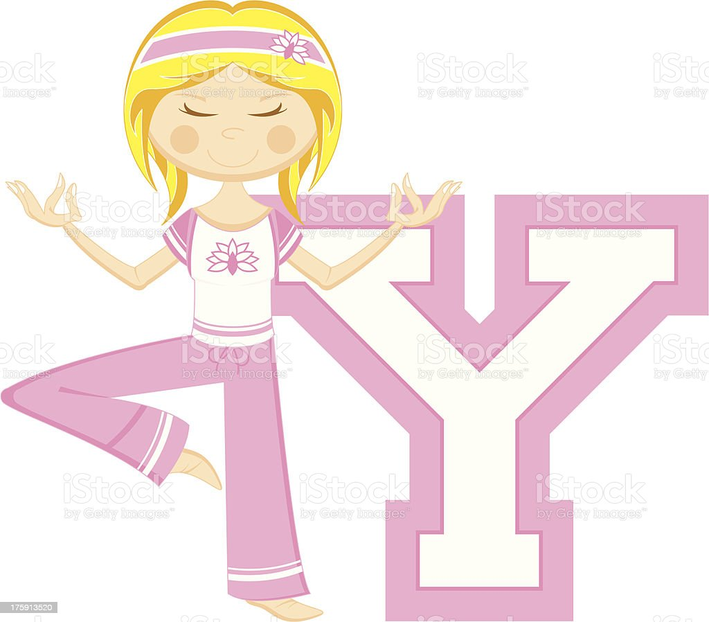 Cute Yoga Girl Learning Letter Y royalty-free stock vector art