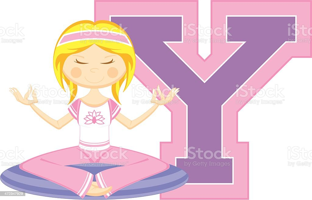 Cute Yoga Girl Learning Letter Y royalty-free cute yoga girl learning letter y stock vector art & more images of adult