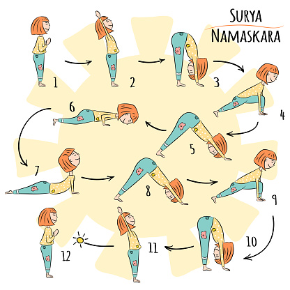 cute yoga kid surya namaskar stock illustration  download