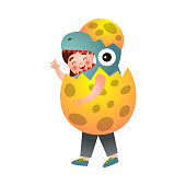 istock Cute young boy in costume of dinosaur that exit from eggshell 1209831074