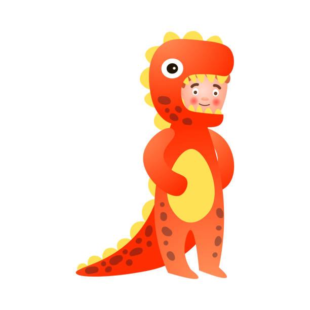 ilustrações de stock, clip art, desenhos animados e ícones de cute young boy in red yellow color dinosaur costume - puxar cabelos