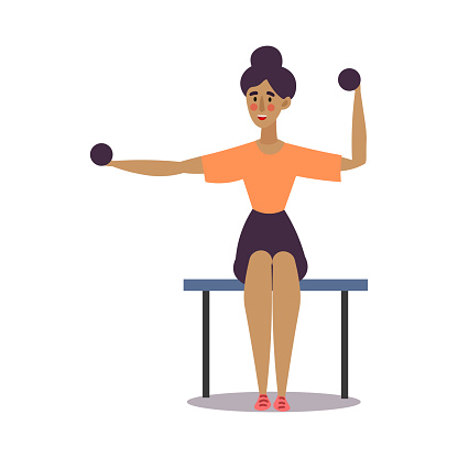 Cute young dark-haired girl sitting and doing exercise with dumbbells in a gym. Vector illustration in the flat cartoon style