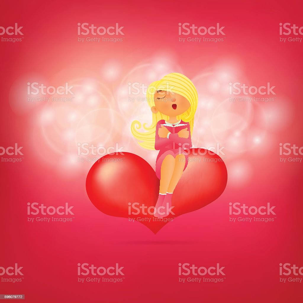 Cute young girl character, sitting on pink heart, embracing her royalty-free cute young girl character sitting on pink heart embracing her stock vector art & more images of adult