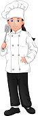 vector illustration of cute young girl chef holding spatula