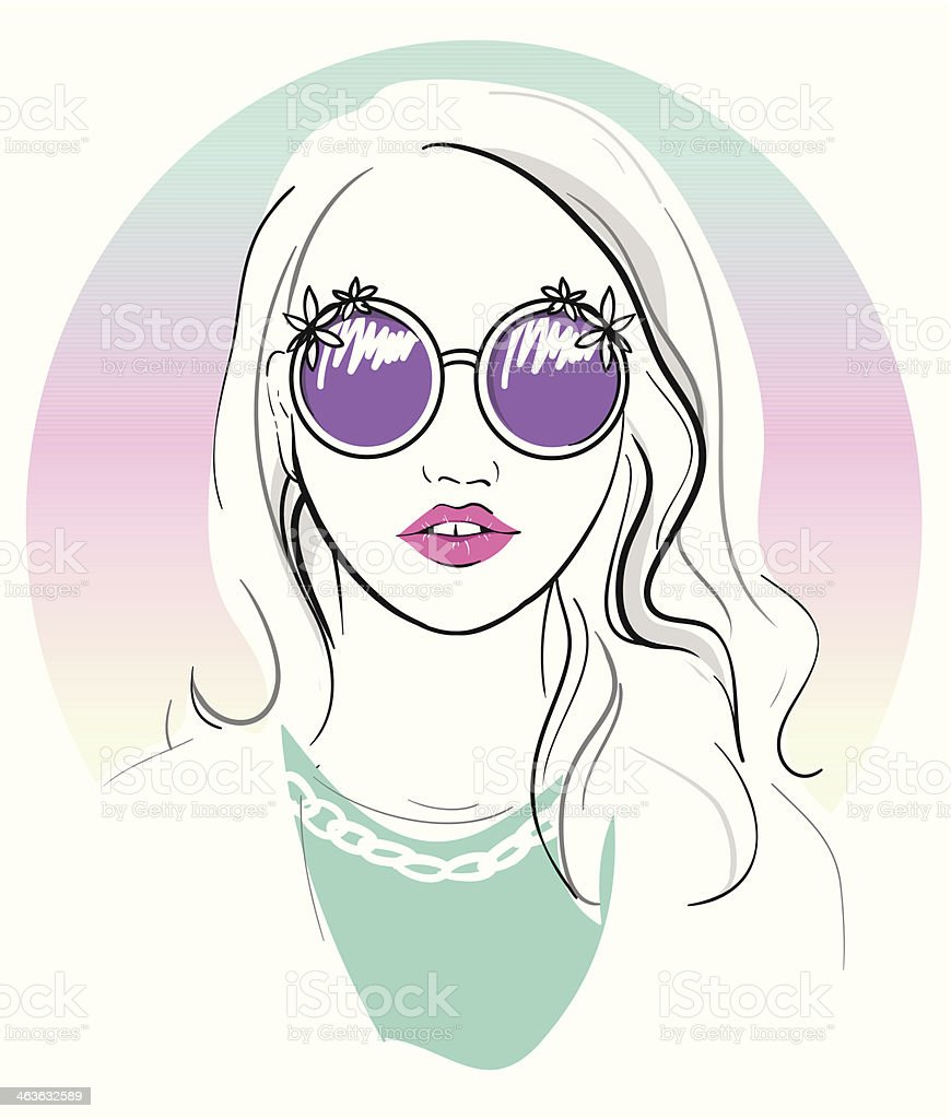 かわいい若い女性ファッションのイラスト めがねのベクターアート素材