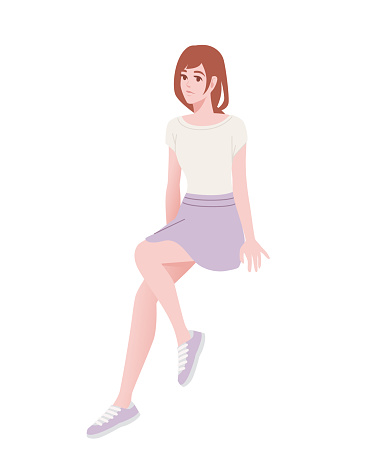 Cute young girl in sitting pose wearing casual clothes cartoon character fashion female model design flat vector illustration isolated on white background