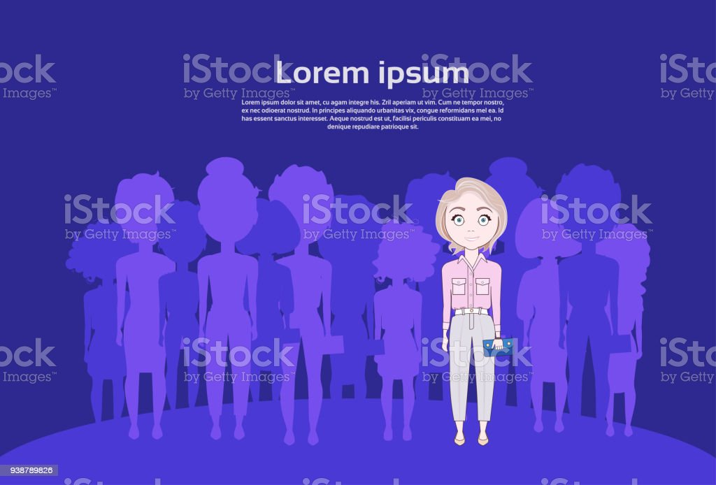 Cute Young Girl Standing Out Of Crowd Over Silhouette People Group vector art illustration