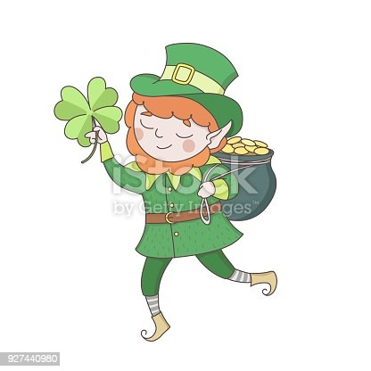 Cute young leprechaun in green clothes with a pot of golden coins and clower leaf. Saint Patrick s day celebration. Ireland national folklore character.