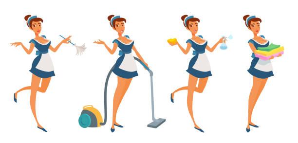 かわいい若いメイドの女の子は、クリーニング、笑顔、ポインティング手のための均一なホールディングツール。 - 楽しい 洗濯点のイラスト素材/クリップアート素材/マンガ素材/アイコン素材