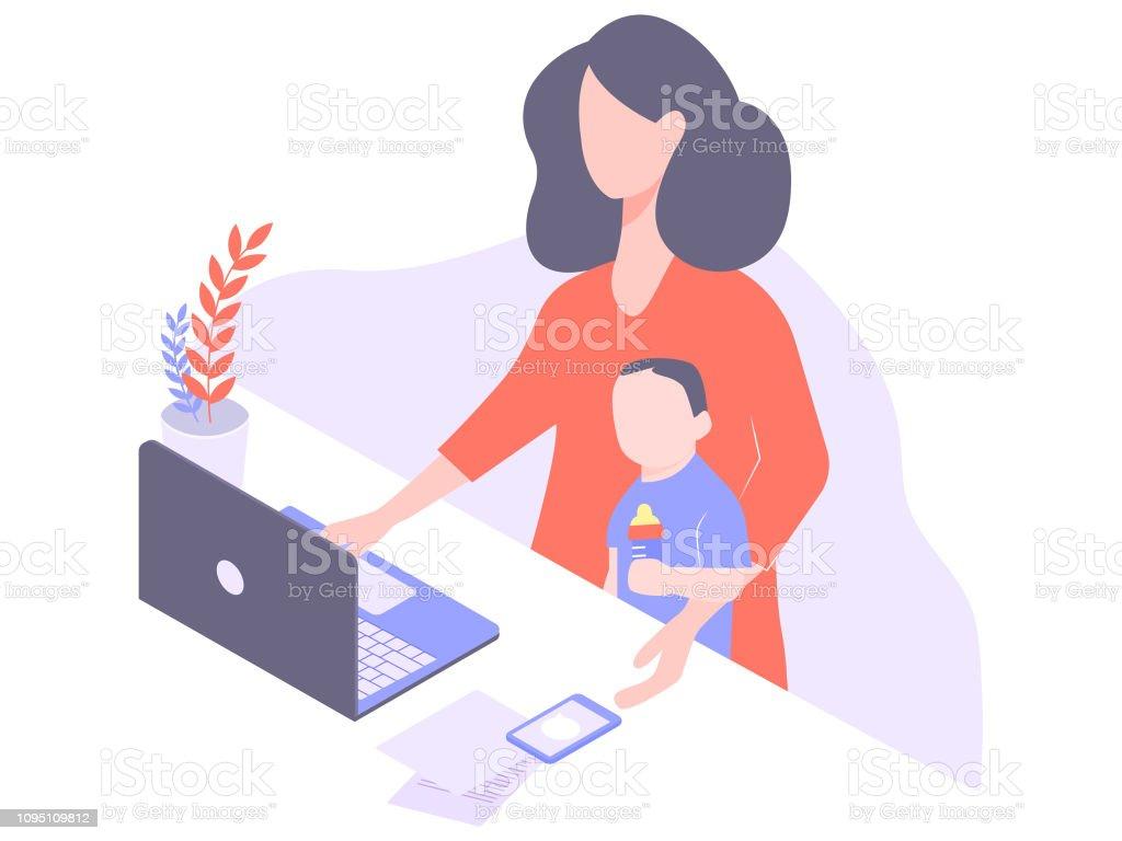 Freelancer mignon jeune maman travaille à la maison - Illustration vectorielle