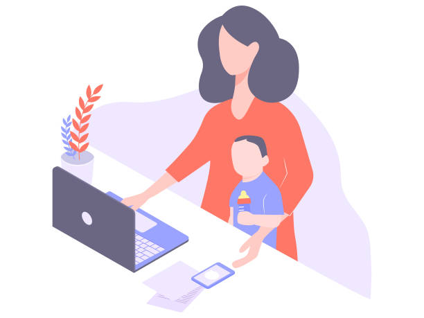cute young mom freelancer works at home - working from home stock illustrations